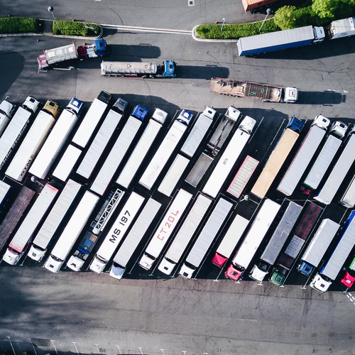 A couple of lorry park with each other